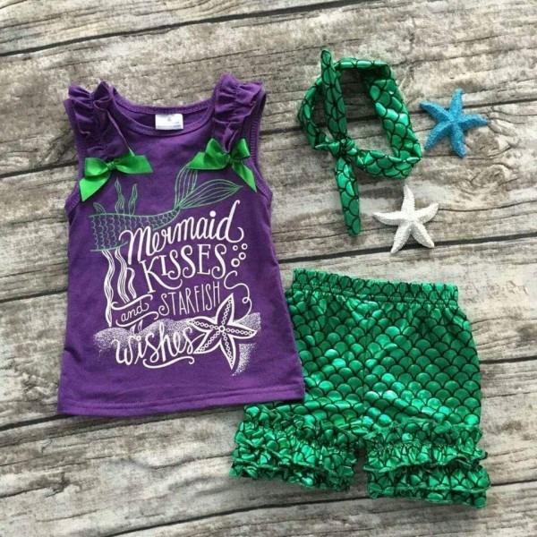 2017 New Arrival Girl Mermaid Clothing Set Summer Mermaid Toddler