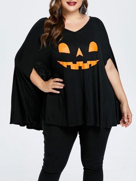2018 Plus Size Halloween V Neck Poncho T