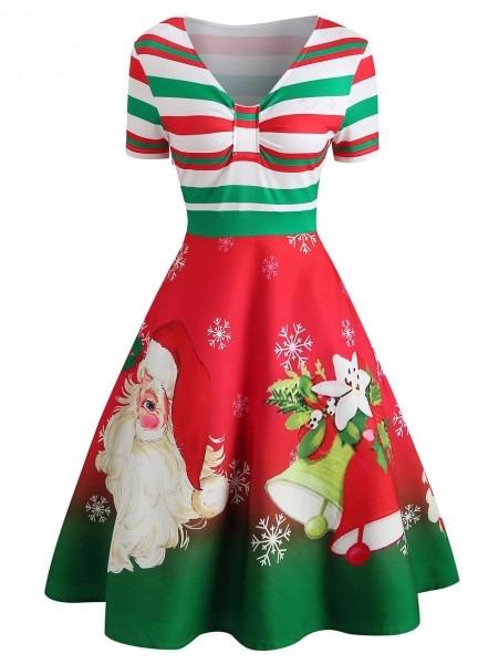 2018 Christmas Santa Print Short Sleeve Dress