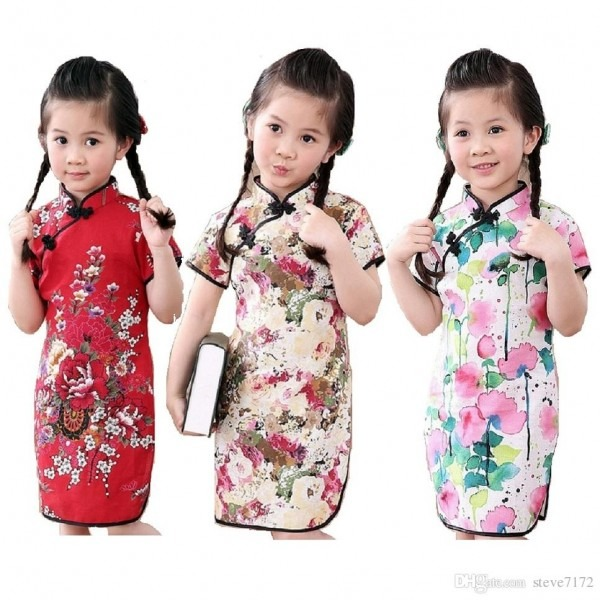 2018 2018 Chinese New Year Baby Girl Qipao Dress Clothes Fashion
