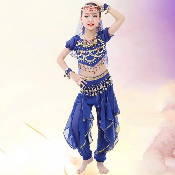 2018 Girl Children Belly Dance Costumes 2pcs 6pcs Chiffon 120d