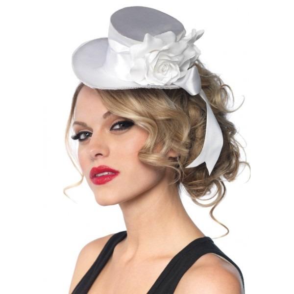 Rose Accented Satin Mini Top Hat