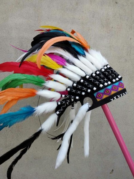 21 Inch Colorful Indian Headdress Feather Headdress Indian War