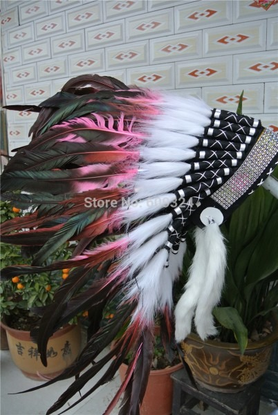 21inch High Light Pink Indian Feather Headdress With Sliver