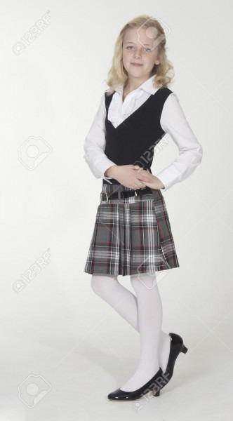Catholic School Girl Posing In School Uniform Stock Photo, Picture