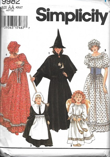 Simplicity 9982 Adult Halloween Costume Pattern, Witch, Angel