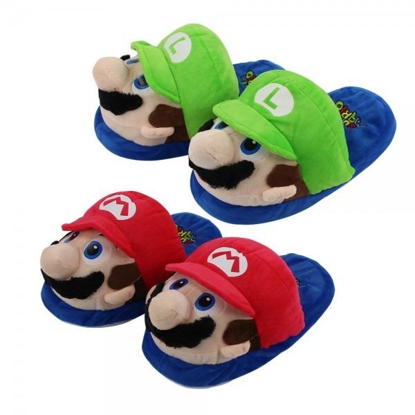 27cm Super Mario Bros Mario Luigi Red And Green Slippers Soft