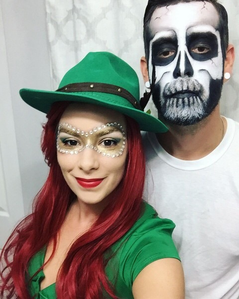 My Husband And I On Halloween! I Painted On My Robin Hood Mask