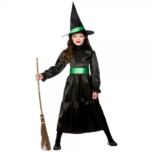 Girls Black Witch Wicked Witches Kids Halloween Fancy Dress Outfit