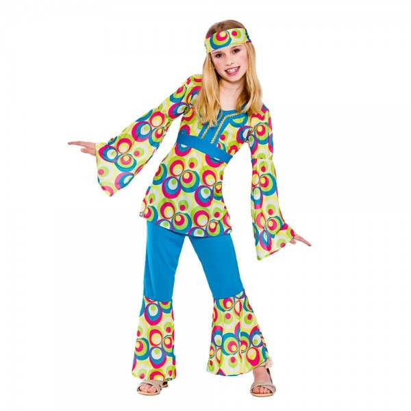 Childrens Hippy Girl Fancy Dress Costume 60's 70's Hippie Kids
