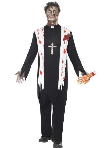 Zombie Priest Costume Mens Halloween Evil Vicar Fancy Dress Outfit