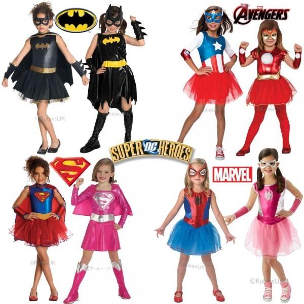 Girls Superhero Costume Kids Super Hero Fancy Dress Outfit Age 3