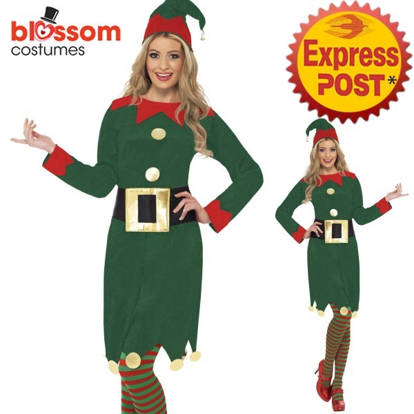 Ca124 Ladies Christmas Elf Costume Santa Helper Xmas Fancy Dress