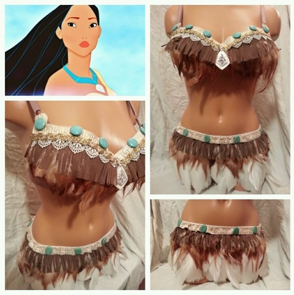 Sexy Pocahontas Feather Indian Costume Rave Bra Outfit Edc Top
