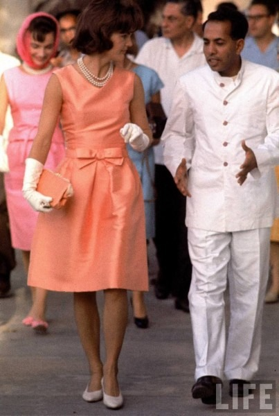 Jackie Kennedy Wearing Pearls And A Coral Dress  Pearl Jewelry And