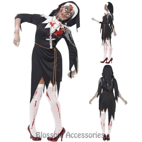 Cl936 Zombie Bloody Sister Mary Nun Priest Halloween Fancy Dress