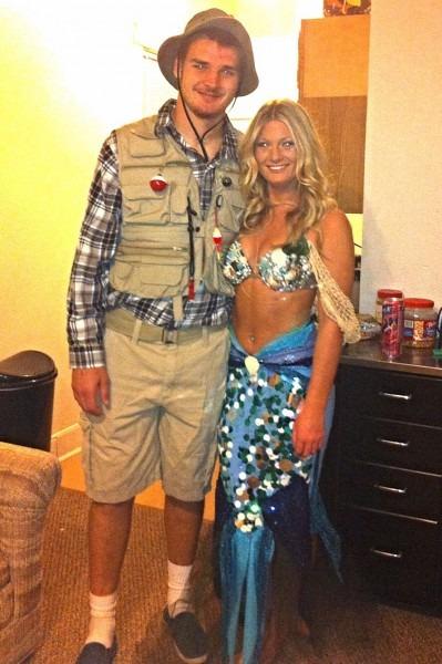 Halloween Costume  Mermaid Fisherman Couple Costume Homemade