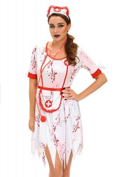 Women 3pcs Horrible Zombie Nurse Costume Dress Halloween Role Play