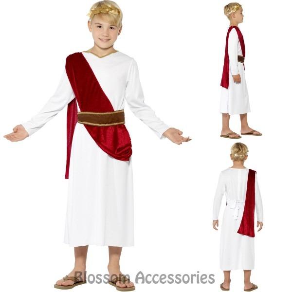 Ck832 Boys Roman Ancient Greek Julius Caesar White Red Toga Fancy