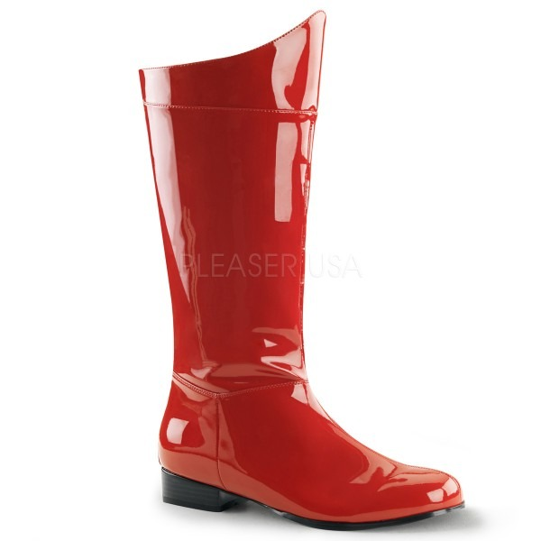 Acomes  Hero Boots Men, Mens Adult Red Shiny And Glossy Red Ranger