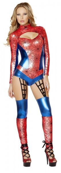 Red Spider Girl Costume, Web Crawler Costume, Sexy Red Spider