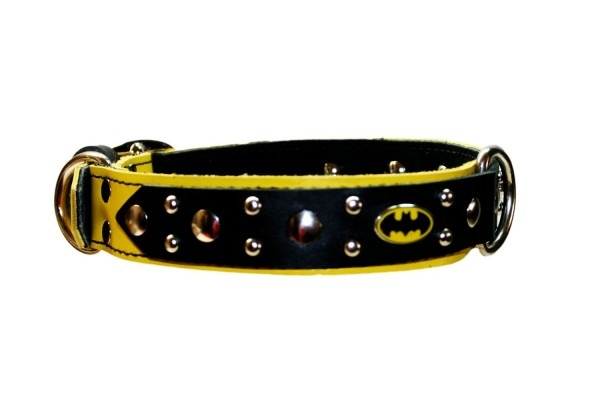 Batman Dog Collar Yellow And Black Leather