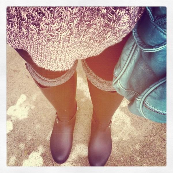 Oversized Sweater, Leg Warmers And Steve Madden Rain Boots  3