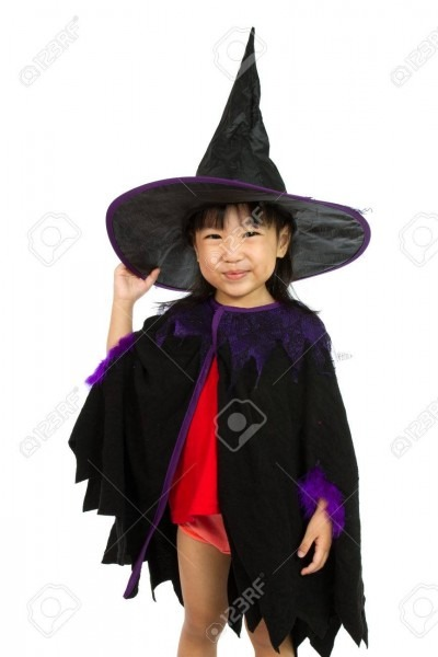 Asian Little Chinese Girl Wearing Halloween Costume Isolated
