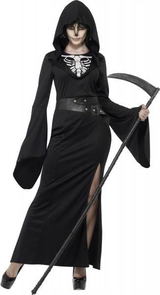 Ladies Grim Reaper Costume Halloween Fancy Dress Adult Death