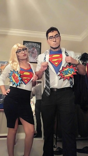Couples Costume Diy Comic Pop Art Superman Supergirl