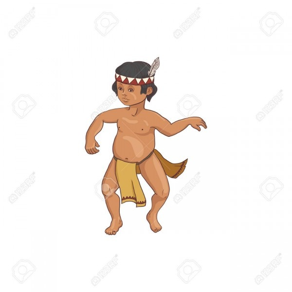 Native American, Dancing Indian Boy In Traditional Costume, Hand