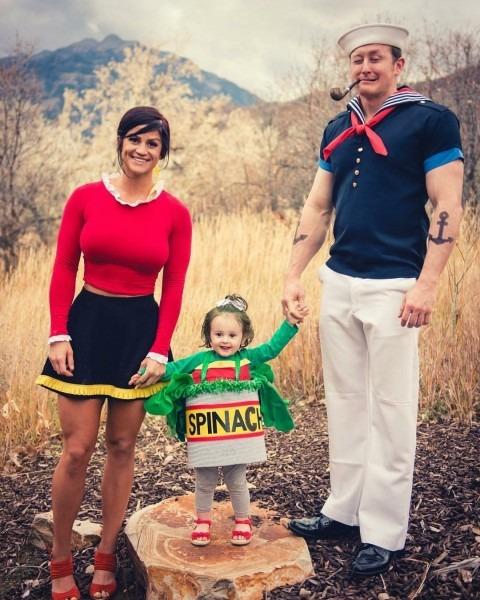 Popeye, Olive, & Spinach Family Halloween Costume  Popeyeandolive
