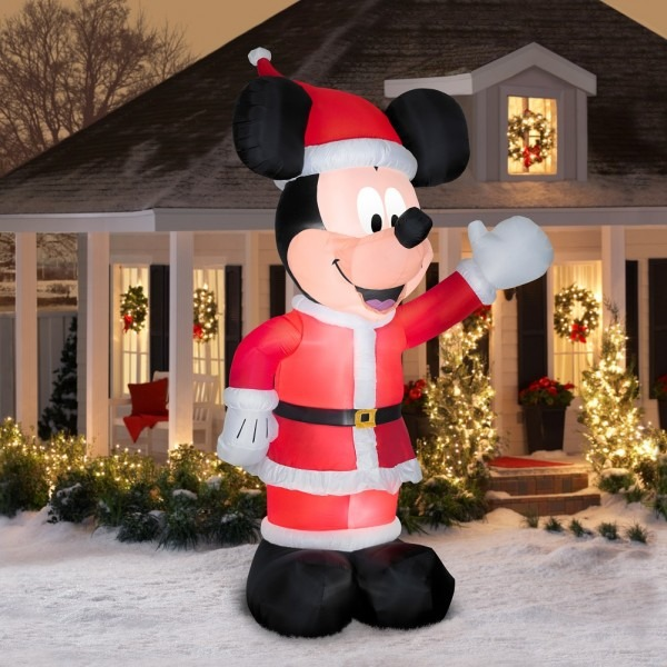 11' Inflatable Mickey Mouse In Santa Suit Air
