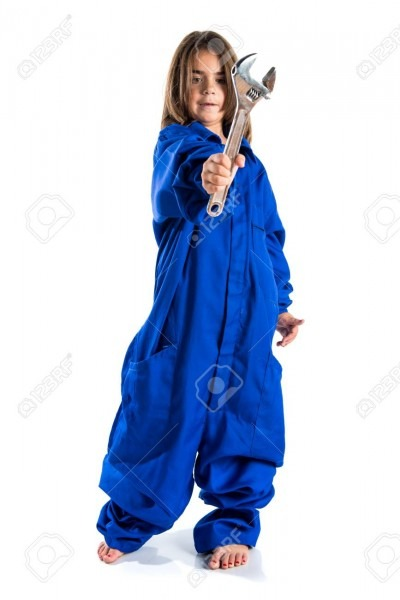 Little Girl With Mechanic Costume Stock Photo, Picture And Royalty