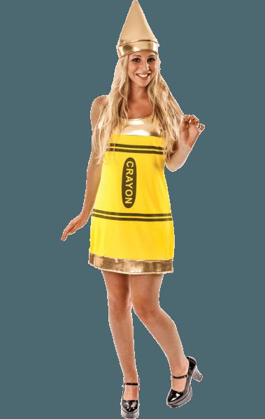 Adult Yellow Crayon Fancy Dress Costume