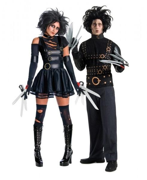 Adult Mr & Mrs Edward Scissorhands Halloween Couples Fancy Dress
