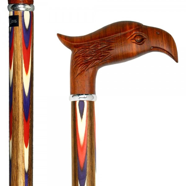 Colors Don't Run Eagle Handle Walking Cane With Inlaid Ovangkol