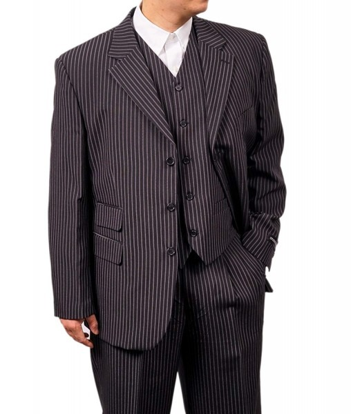 New Men's 3 Piece Black Gangster Pinstripe Dress Suit With
