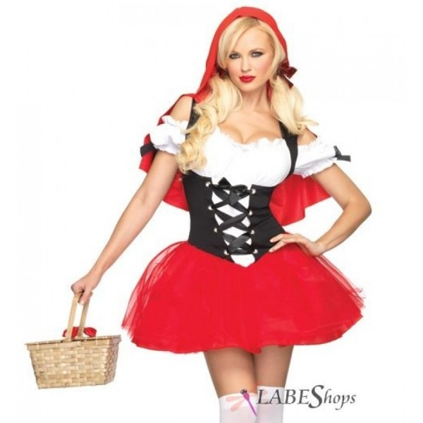 Spicy Red Riding Hood Racey Womens Costume Set