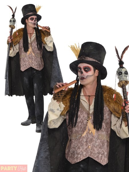 Mens Witch Doctor Voodoo Man Costume Adult Plus Size Halloween Best Party Supply