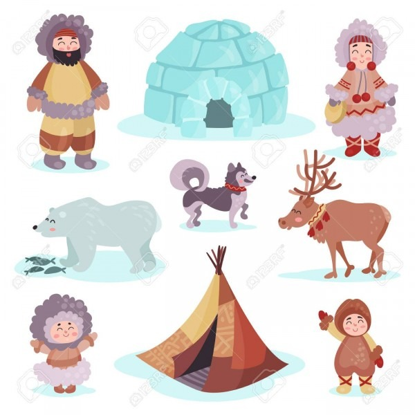 People In Traditional Eskimos Costume And Arctic Animals Set