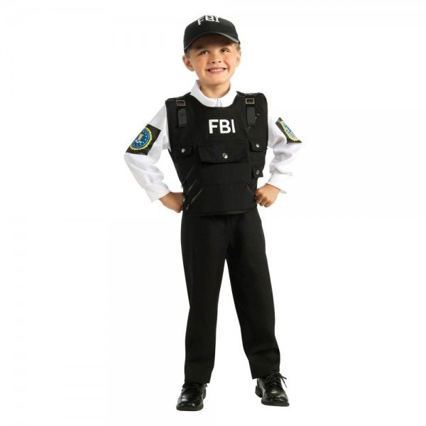 Halloween Kids' Fbi Agent Halloween Costume S, Kids Unisex
