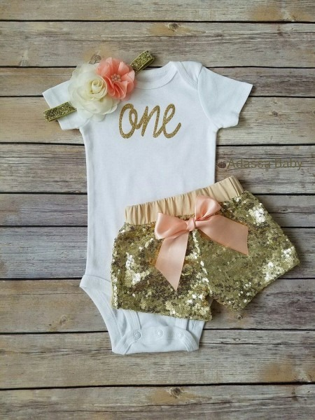 First Birthday Outfit Girl Peach And Gold In 2018