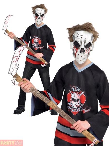 Boys Bloody Jason Costume Kid Teen Halloween Hockey Player Fancy