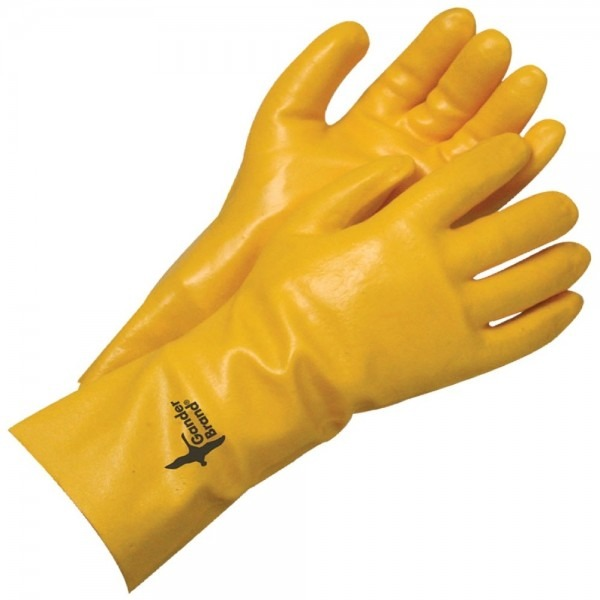 Coated Pvc Single Dipped Gauntlet Yellow 14 In