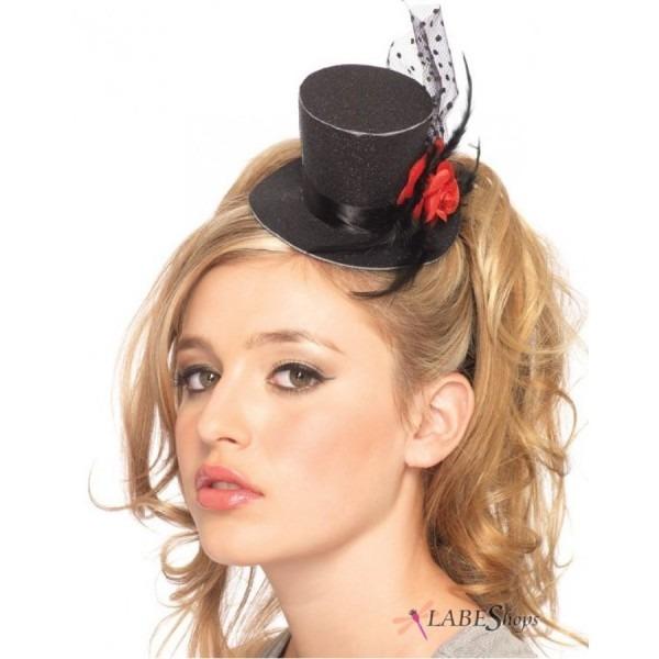 Rose Clip On Mini Top Hat