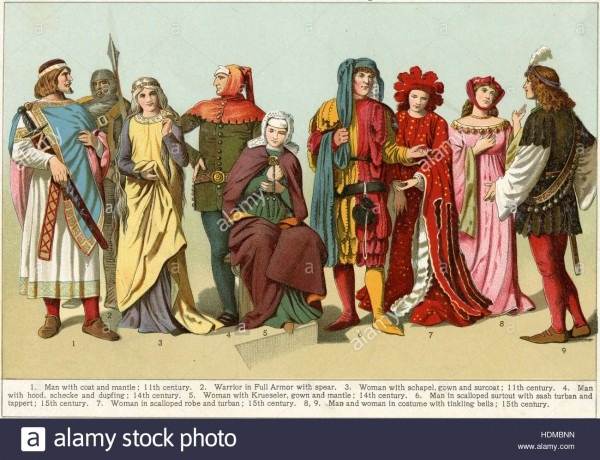 Antique 1897 Chromolithgraph Showing Costumes From The Middle Ages