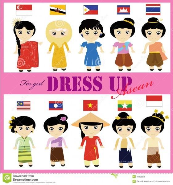 Asean Traditional Dress For Girl Aec Stock Illustration