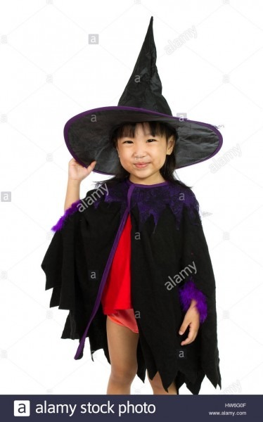 Asian Little Chinese Girl Wearing Halloween Costume Isolated On