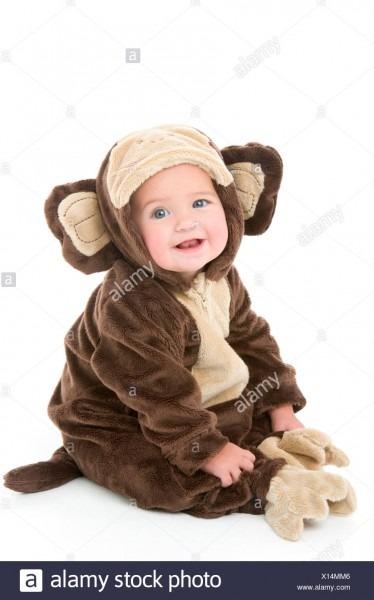 Baby In Monkey Costume Stock Photo  276084598